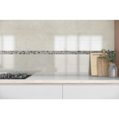 Delray Sunset 3 in. x 12 in. x 8 mm Stone Glass Mesh-Mounted Mosaic Tile
