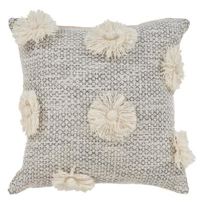 Eclectic Tassel Grey Floral Hypoallergenic Polyester 18 in. x 18 in. Throw Pillow