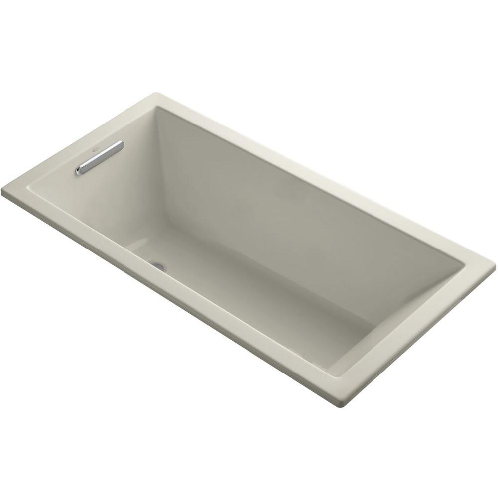 Underscore 5 ft. Rectangle Reversible Drain Soaking Tub in Sandbar