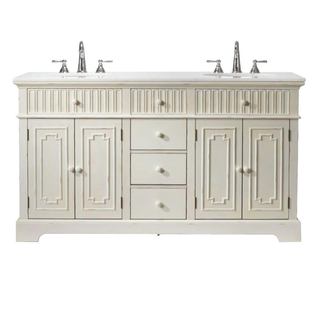 Home Decorators Collection Manor 61 in. Double Vanity in Distressed White with Natural Marble Vanity Top in White