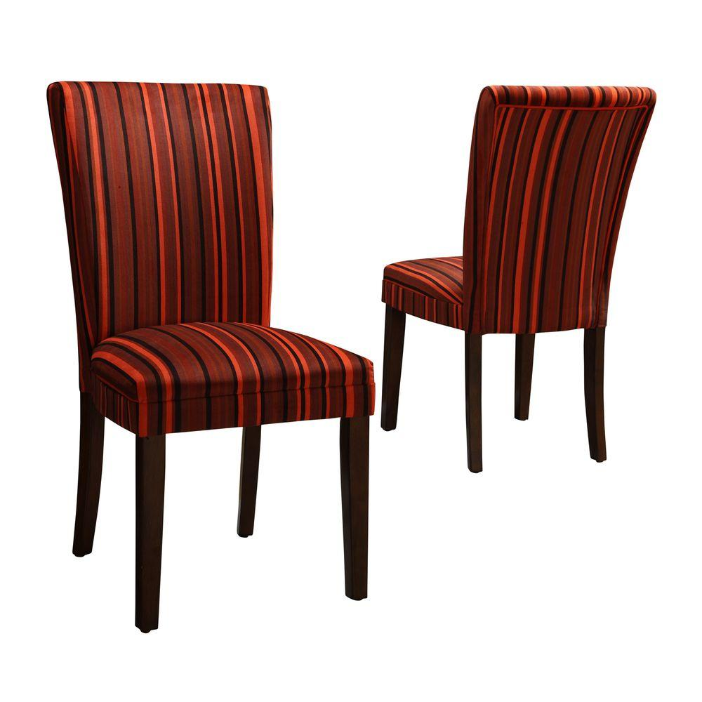 Home Decorators Collection Red Stripes Print Side Chairs (Set of 2)-DISCONTINUED