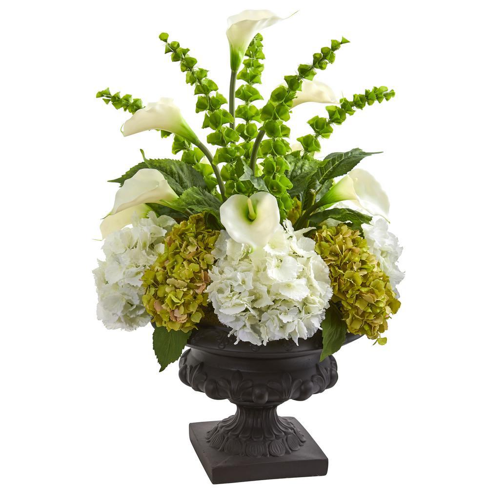 Indoor 3 Hydrangea Mixed Floral Artificial Arrangement in Urn