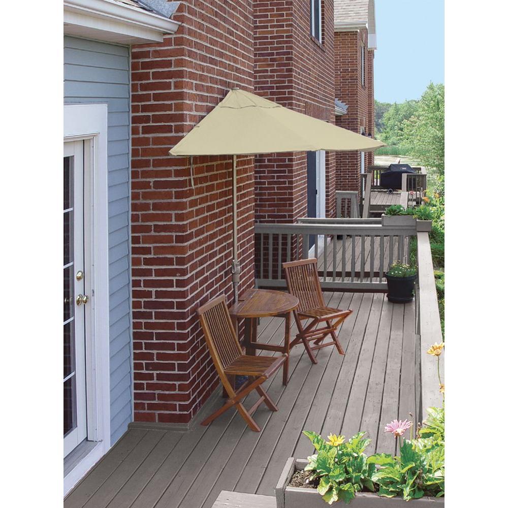 Terrace Mates Bistro Standard 5-Piece Patio Bistro Set with 9 ft. Antique Beige Olefin Half-Umbrella