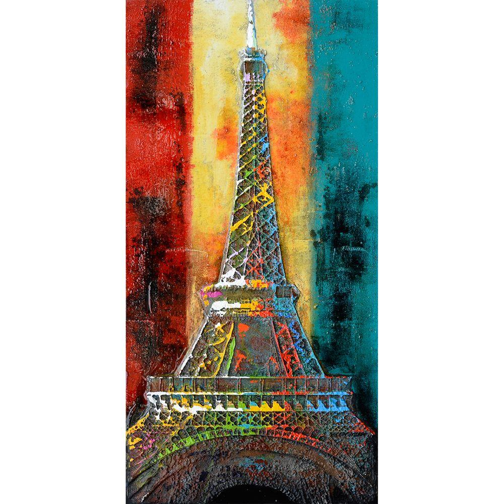 Yosemite Home Decor 47 in. x 24 in. Eiffel of Color Hand Painted Contemporary Artwork