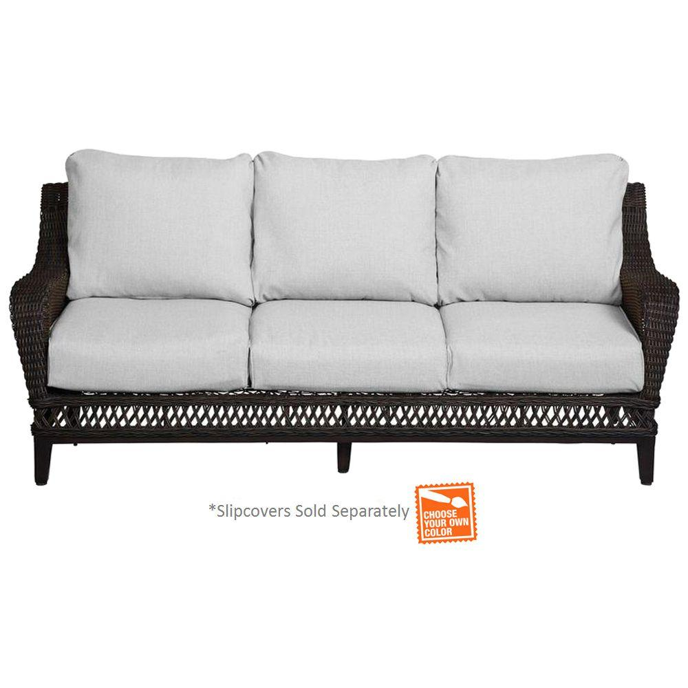 Hampton Bay Woodbury Wicker Outdoor Patio Sofa with Textured Sand ...