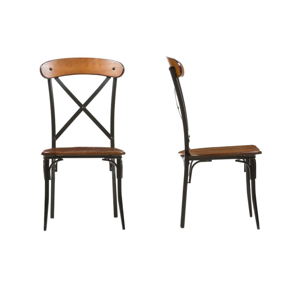 Broxburn Light Brown Wood and Metal Dining Chairs (Set of 2)