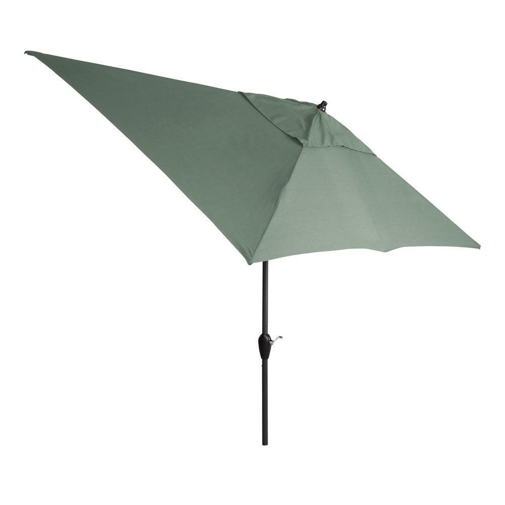 hampton bay 10 ft x 6 ft aluminum patio umbrella in spa with push button tilt 9106 01298700. Black Bedroom Furniture Sets. Home Design Ideas