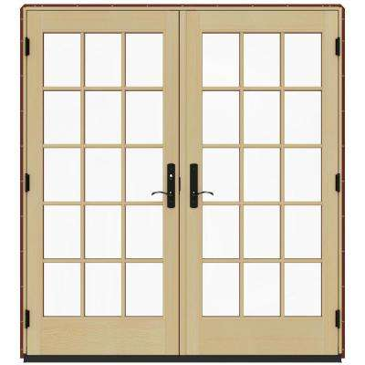 72 in. x 80 in. W-4500 Contemporary Red Clad Wood Right-Hand 15 Lite French Patio Door w/Lacquered Interior