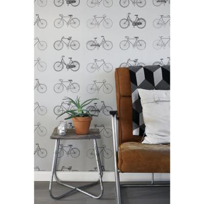 Turnblad Grey Bicycle Paper Strippable Wallpaper (Covers 56.4 sq. ft.)