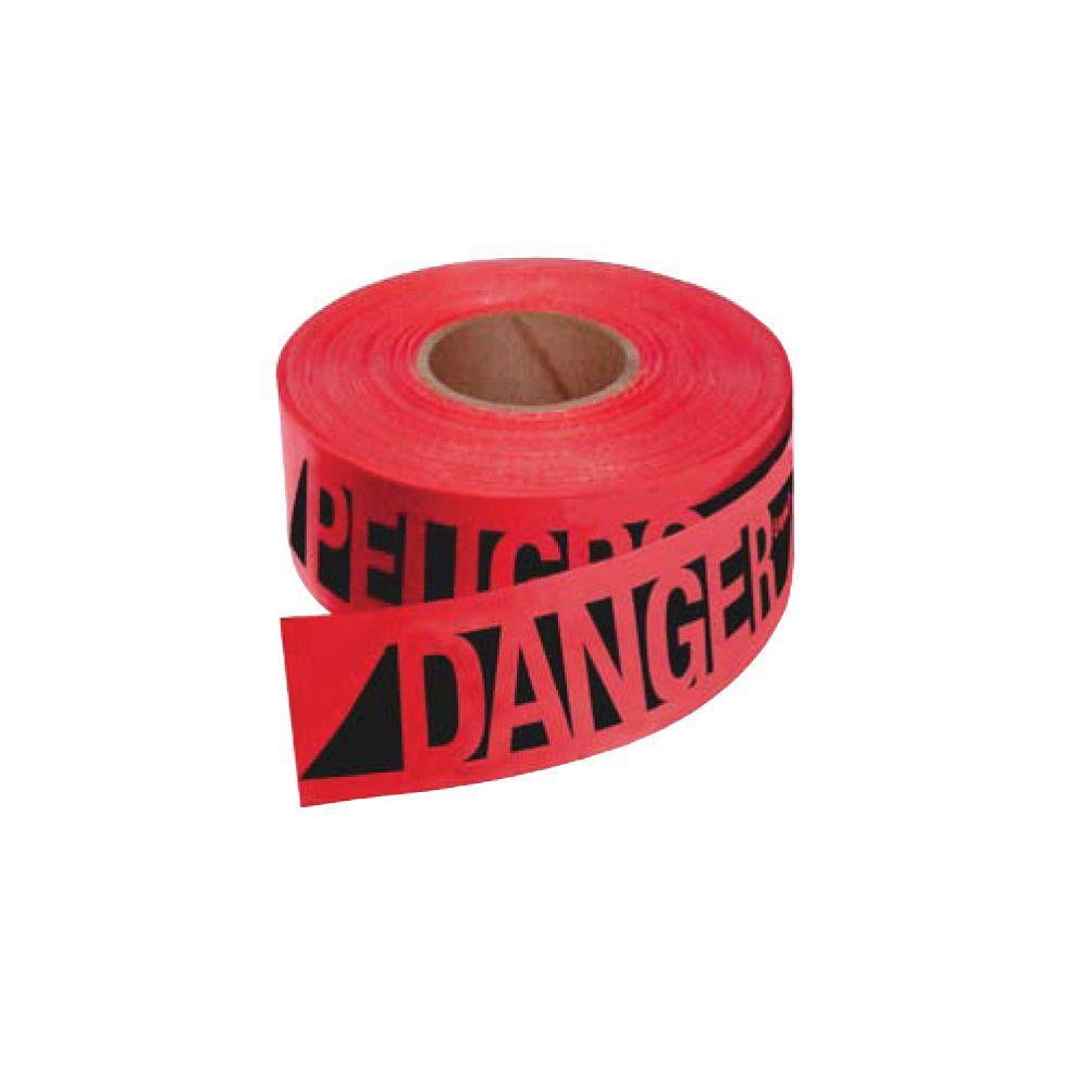 3 in. x 500 ft. Reinforced Danger Tape in Red