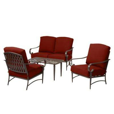 Oak Cliff Brown 4-Piece Steel Outdoor Patio Conversation Seating Set with Sunbrella Henna Red Cushions