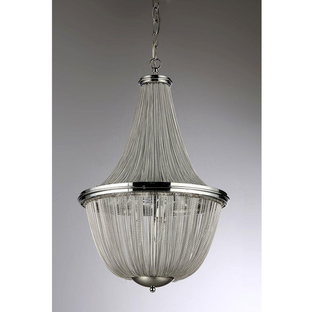 Warehouse of Tiffany Patricias 6-Light Chrome Chandelier with Shade
