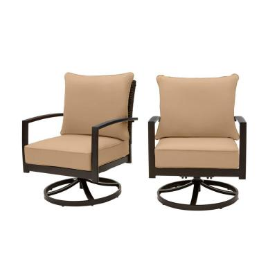 Whitfield Dark Brown Wicker Outdoor Patio Motion Conversation Chair with CushionGuard Toffee Tan Cushions (2-Pack)