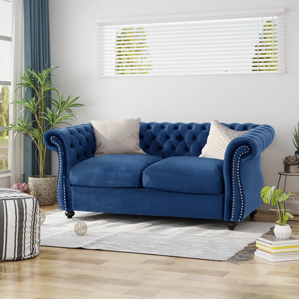 Astonishing Noble House Somerville Traditional Tufted Navy Blue Velvet Ncnpc Chair Design For Home Ncnpcorg