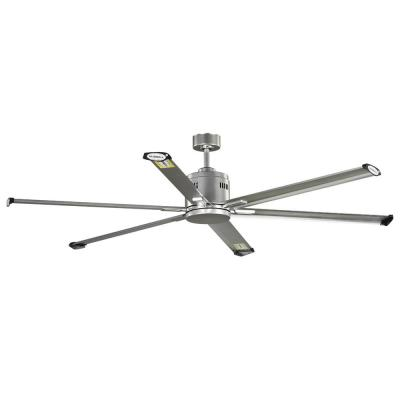 Hubbell Industrial 72 in. Indoor/Outdoor Nickel Dual Mount Ceiling Fan with Wall Control