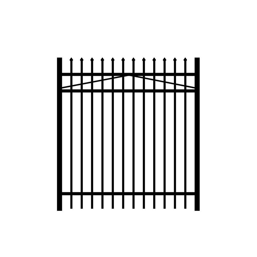 Washington 5 ft. W x 4 ft. H Black Aluminum 3-Rail Fence Gate