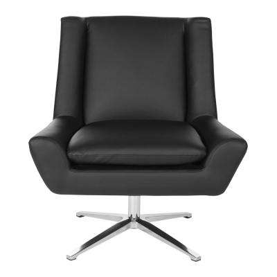 Black Faux Leather and Aluminum Base Swivel Guest Chair