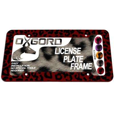 Leopard Red and Black License Plate Frame