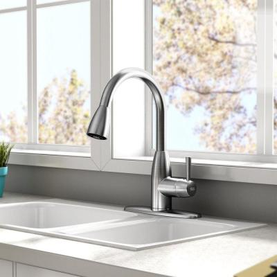 Fairbury Single-Handle Pull-Down Sprayer Kitchen Faucet in Stainless Steel