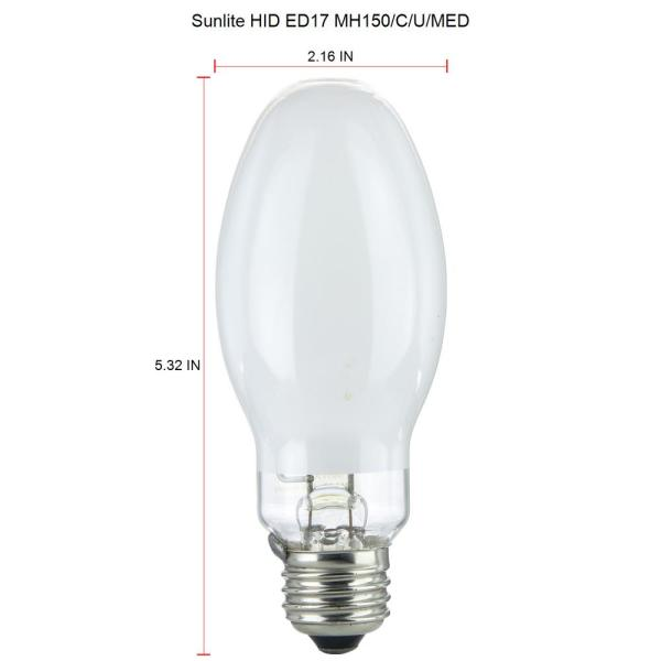 Sunlite 150 Watt Ed17 Metal Halide High Intensity Discharge 11 500 Lumen E26 Base 4000k Hid Light Bulb 12 Pack Hd02510 12 The Home Depot
