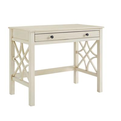 38 in. Rectangular Antique White 1 Drawer Writing Desk with Built-In Storage