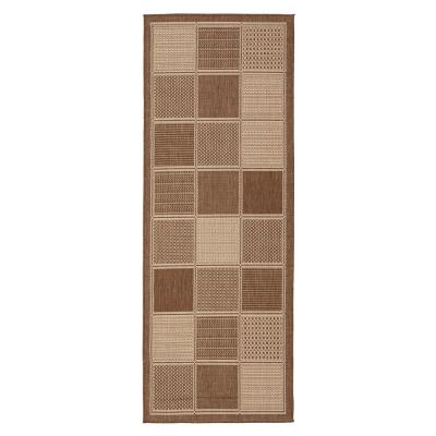 Jardin Collection Brown Contemporary Boxes Design Indoor/Outdoor 1 ft. 8 in. x 4 ft. 11 in. Jute Back Runner Rug