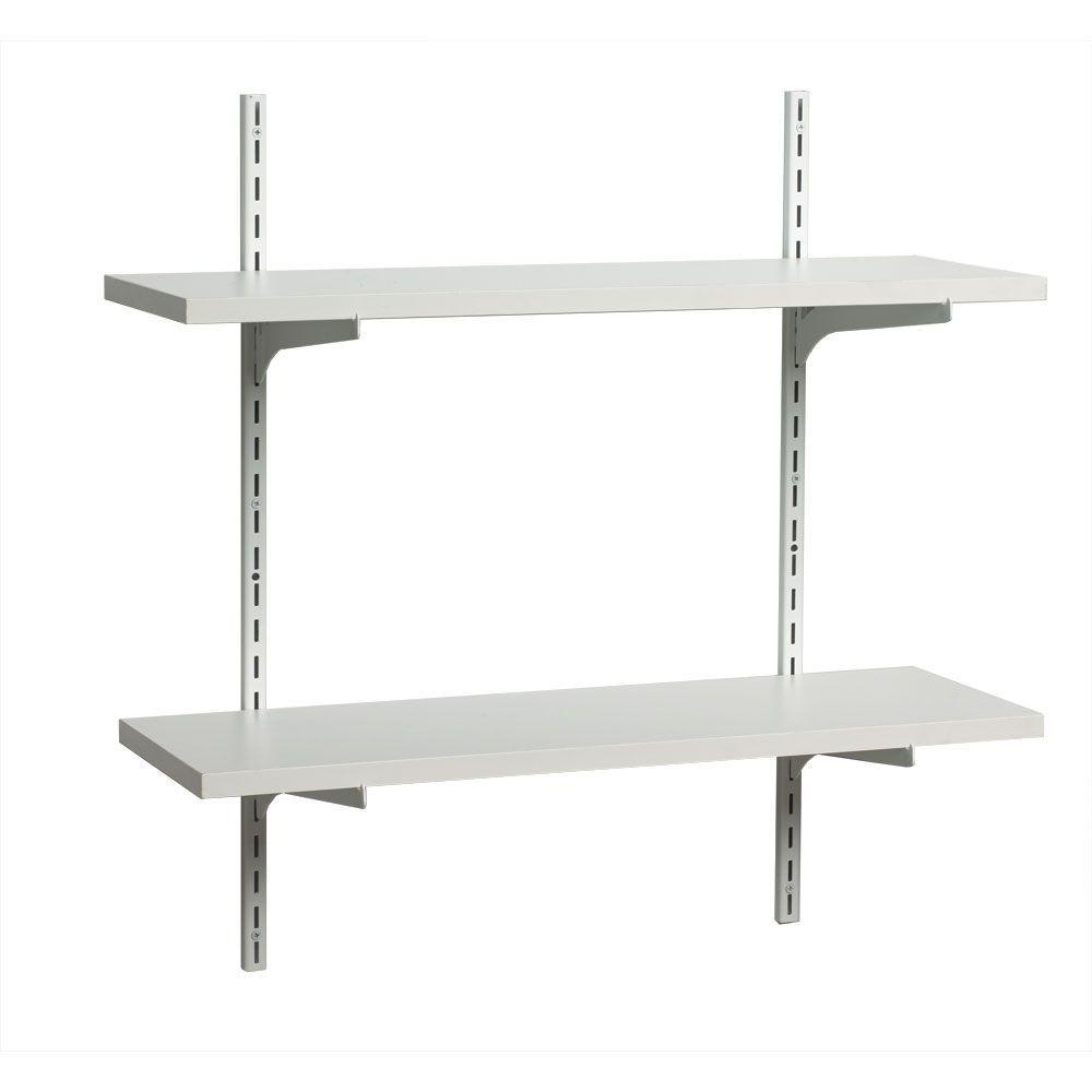 wood shelf organizer steel standards and brackets in white adjustable hardware 77355095906 ebay. Black Bedroom Furniture Sets. Home Design Ideas