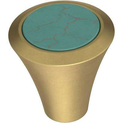 Agate 1-1/8 in. (29 mm) Brushed Brass with Turquoise Cabinet Knob (4-Pack)