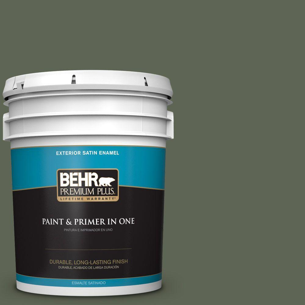 BEHR Premium Plus 5-gal. #N390-7 Cypress Vine Satin Enamel Exterior Paint