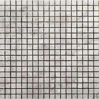Silver 12 in. x 12 in. x 9.39 mm Marble Mesh-Mounted Mosaic Tile