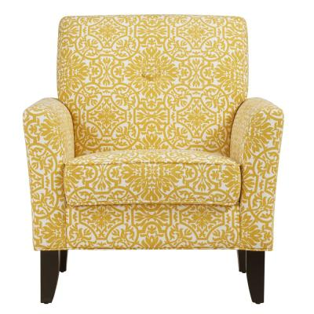 Alex Golden Yellow Damask Arm Chair