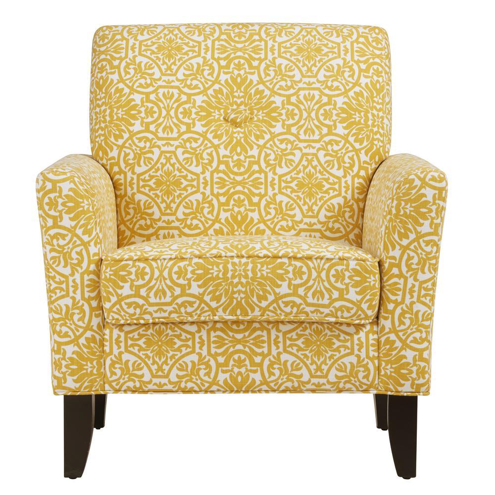 Handy Living Alex Golden Yellow Damask Arm Chair 340C-DMK24-112