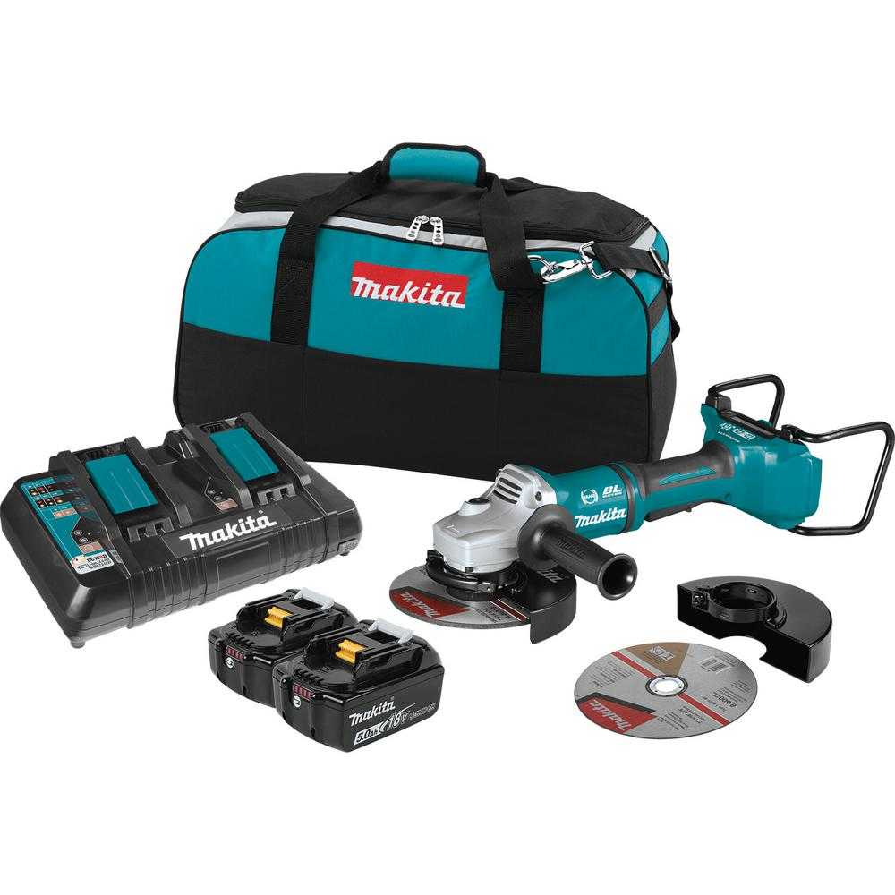 Makita 18-Volt X2 LXT Lithium-Ion (36V) Brushless Cordless 9 in  Paddle  Switch Cut-Off/Angle Grinder Kit w Electric Brake 5 0Ah