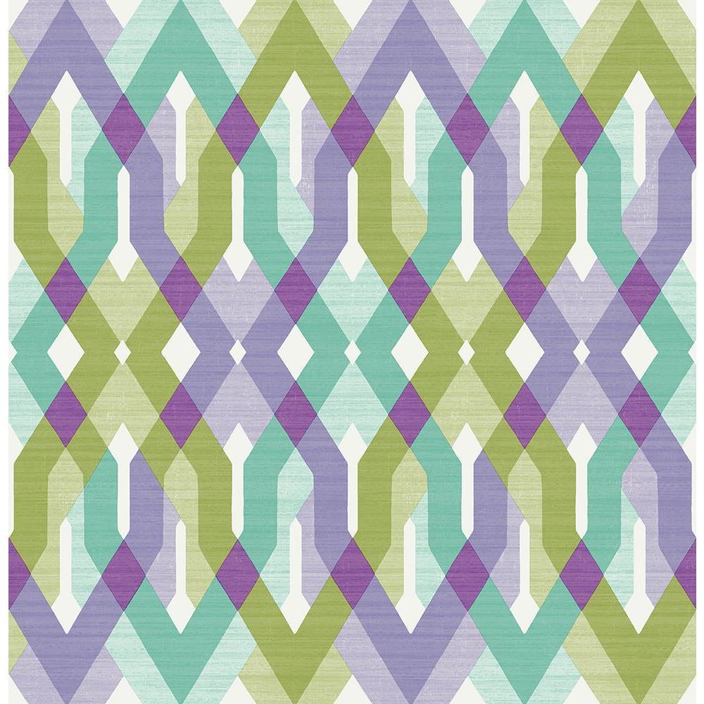 A-Street Harbour Lavender Lattice Wallpaper Sample 2656-004040SAM