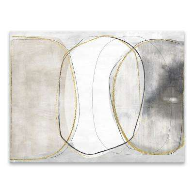 "36 in. x 24 in. ""Circular Light"" by Nikki Chu Hand Embellished Foil Printed Canvas Wall Art"
