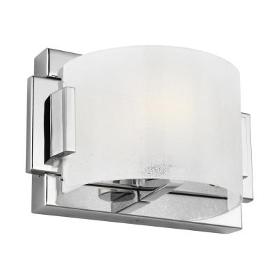 Brinton 8 in. Chrome Sconce with Frosted Sugar Glass Shade