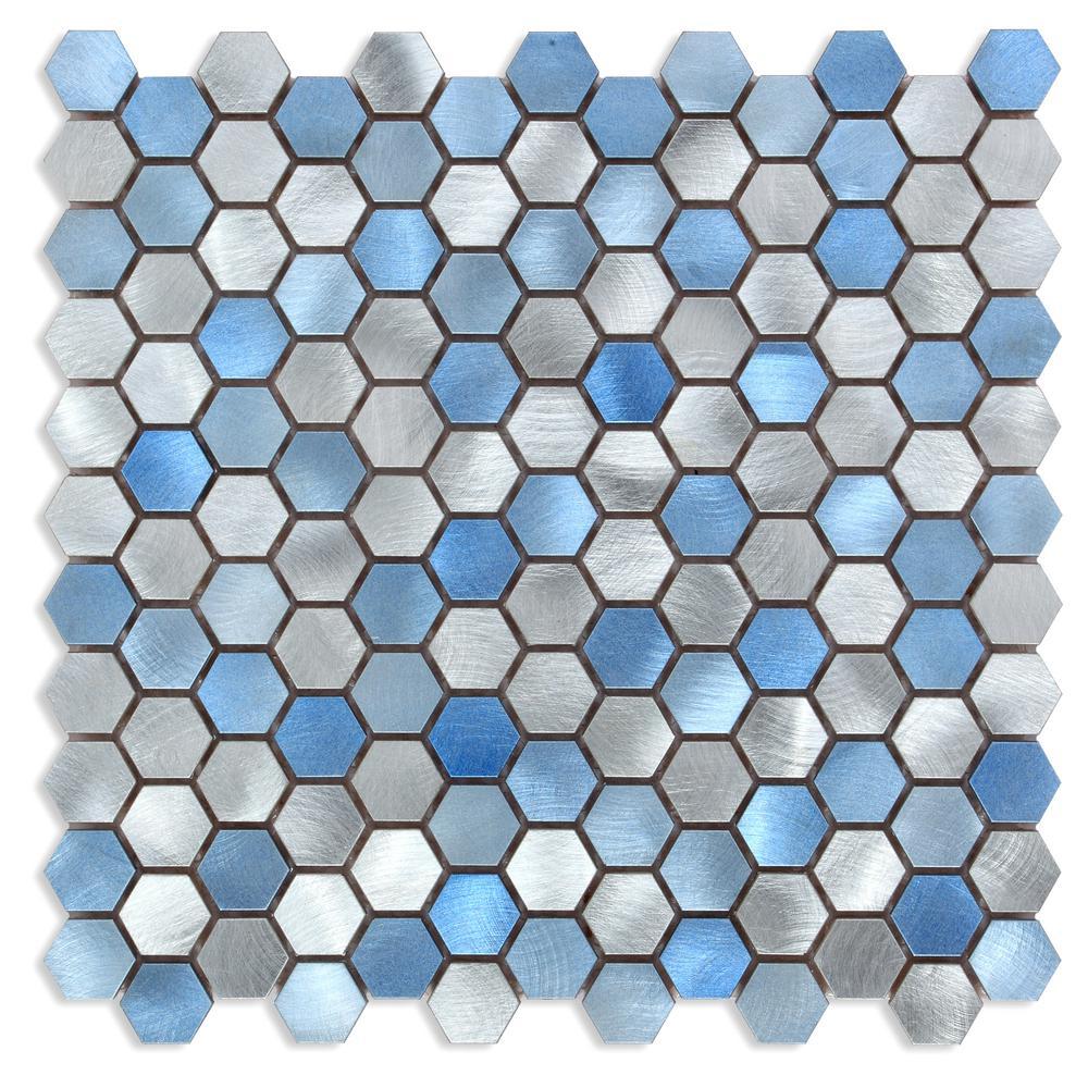 CHENX 12.60 in. x 12.60 in. x 6 mm Aluminum Backsplash in Blue / Silver (12.12 sq. ft./Case)