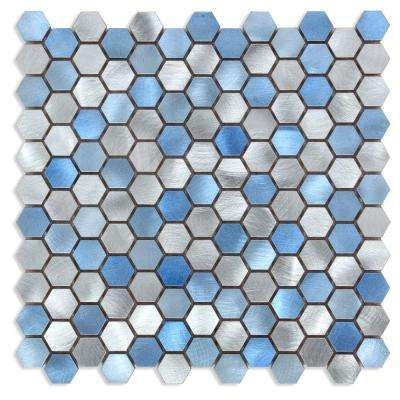 CHENX 12.60 in. x 12.60 in. x 6 mm Aluminum Backsplash in Blue / Silver (12.12 sq. ft./Case)