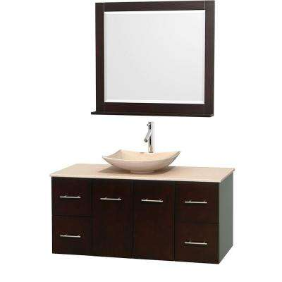 Centra 48 in. Vanity in Espresso with Marble Vanity Top in Ivory, Marble Sink and 36 in. Mirror