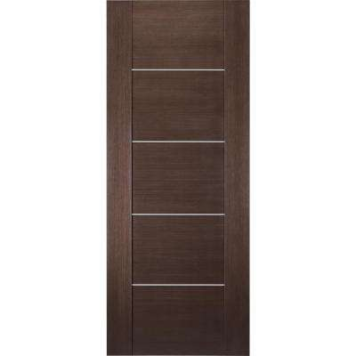 36 in. x 80 in. Dana Wenge Finished with Aluminum Strips Hollow Core Composite Interior Door Slab No Bore