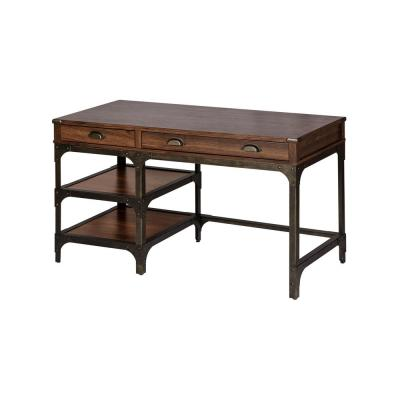 54 in. Rectangular Walnut Brown 2 Drawer Executive Desk with Keyboard Tray