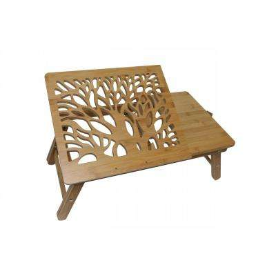 20 in. Brown Long Bamboo Laptop Table