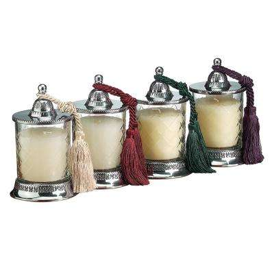 Covered 6.5 in. 4-Piece Candle Jars with Vanilla Scent Candle Set Assorted Tassels