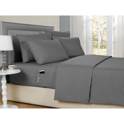 Solid Color Gray Full 6-Piece Sheet Set with Pocket