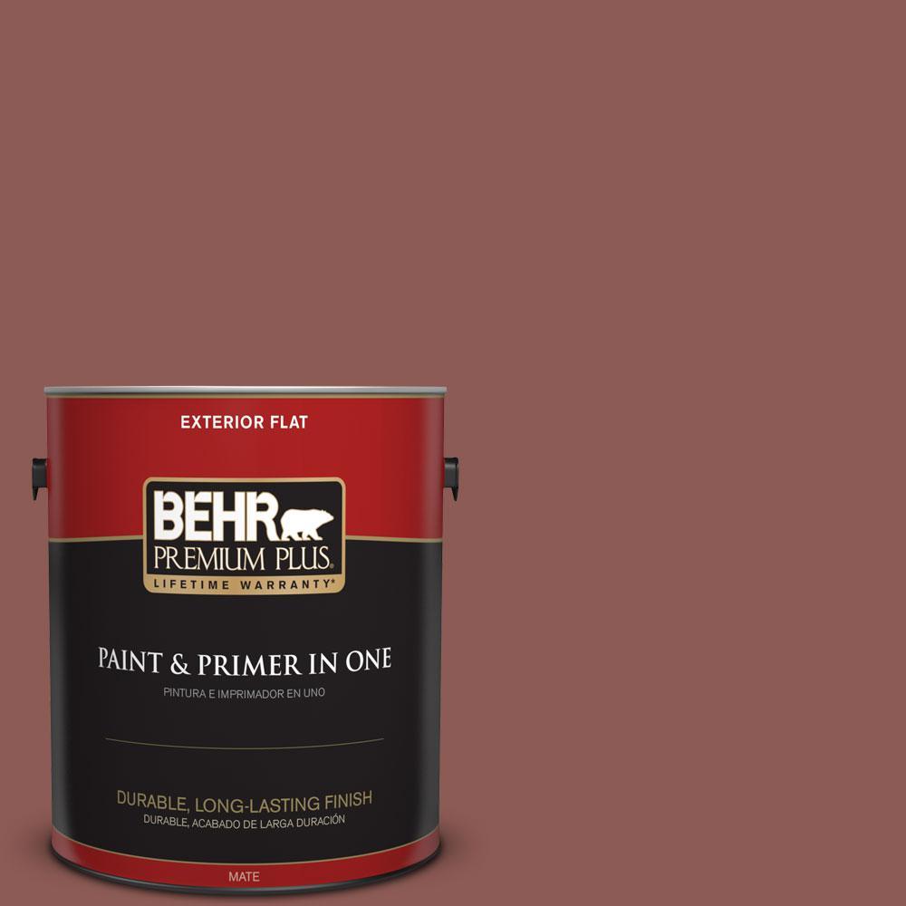 BEHR Premium Plus 1-gal. #190F-6 Bold Brick Flat Exterior Paint