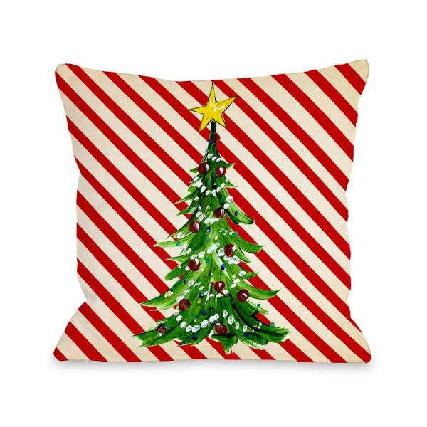undefined Christmas Tree Stripes 16 in. x 16 in. Decorative Pillow
