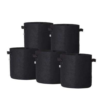 11.25 in. x 10.5 in. 5 Gal. Breathable Fabric Pot Bags with Handles Black Felt Grow Pot (5-Pack)