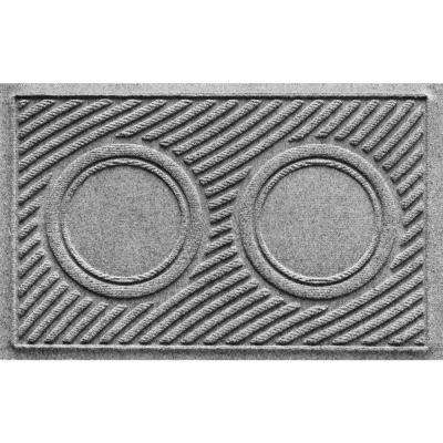 Medium Gray 18 in. x 28 in. Dog Bowl Wave Pet Mat