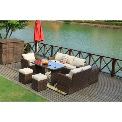 Cannes Variegated Brown 7-Piece Wicker Outdoor Sectional Set with Beige Cushions