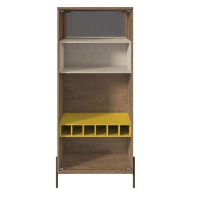 Joy 6-Bottle Yellow and Off White Wine Cabinet